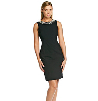 Upc 788627628578 Product Image For Calvin Klein Faux Pearl Neck Sheath Dress Upcitemdb