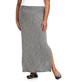 AGB® Plus Size Striped Column Maxi Skirt With Side Slit