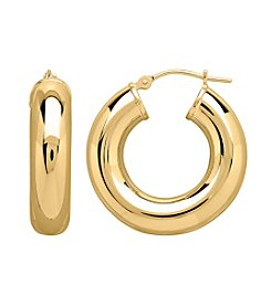 6x25mm 14K Gold Polished Hoop Earrings