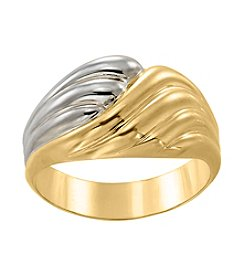 14K Yellow Gold and Rhodium Polished Ring