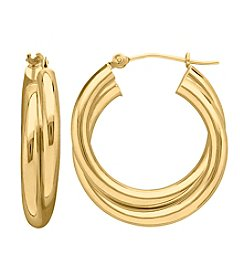 14K Gold Double Polished Hoop Earrings