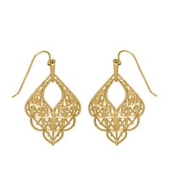 10K Diamond-Cut Scallop Mesh Drop Earrings