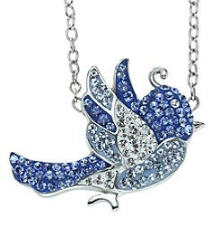 Impressions® Blue Crystal Bird Pendant Necklace in Sterling Silver