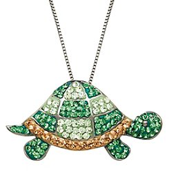 Impressions® Green and Brown Crystal Turtle Pendant Necklace in Sterling Silver