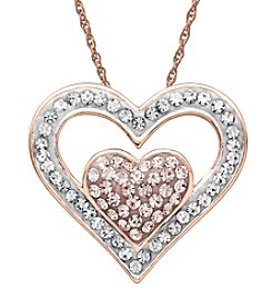 Impressions® Vintage Rose and White Crystal Heart Pendant Necklace in Sterling Silver
