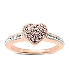 Impressions® Vintage Rose and White Crystal Heart Ring in Sterling Silver