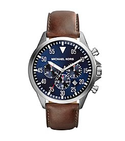 Michael Kors® Stainless Steel Gage Watch with Navy Dial