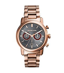 Michael Kors® Rose Goldtone Pennant Watch with Black Dial