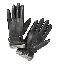 Isotoner® Signature Men's SmarTouch® Stretch Faux Nappa With Belt Gloves
