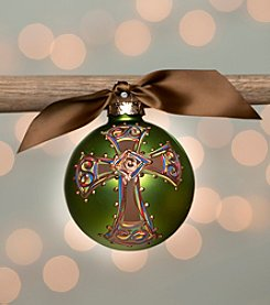 Glory Haus Green Bold Cross Glass Ornament