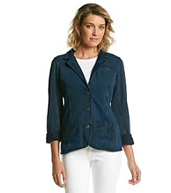 Ruff Hewn Petites' Acid Wash French Terry Blazer
