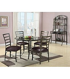 Acme Daisy Black Marble Design 5-pc. Dining Set