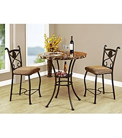 Acme Kleef Brown Marble Design 3-pc. Counter Height Dining Set