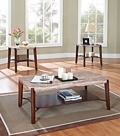 Acme Nadav Square Marble Design 3-pc. Coffee & End Table Set