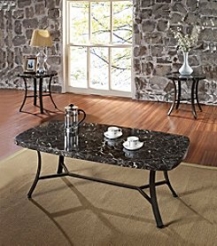 Acme Daisy Black Marble Design 3-pc. Coffee & End Table Set