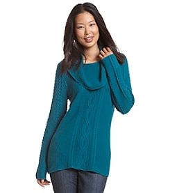 Jeanne Pierre® Cowlneck Fisherman Sweater