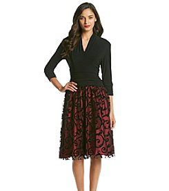 S.L. Fashions Ruched Dress with Flocked Skirt