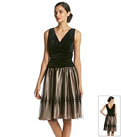 S.L. Fashions® Surplice Velvet Top Mesh Party Skirt Dress