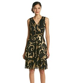 Ronni Nicole® Foil Print Surplice Tiered Dress