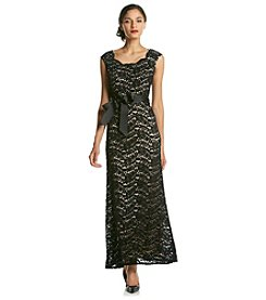 R&M Richards® Petites' Long Lace Mesh Ribbon Belt Dress
