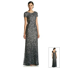 Adrianna Papell® Short Sleeve Sequin Scoop Back Long Dress