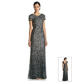 Adrianna Papell® Short Sleeve Sequin Scoop Back Long Dress
