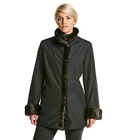Gallery® Stand Clear Ruffle Front Coat With Faux Fur Lining