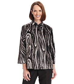 Alfred Dunner® Petites' Manhattan Skyline Faux Fur Jacket