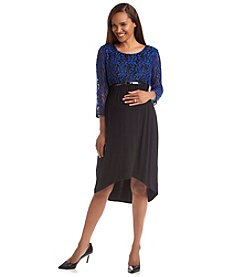 Three Seasons Maternity™ Lace Top Solid High-Low Skirt Dress