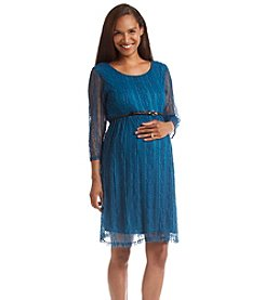 Three Seasons Maternity™ Belted Lace Dress