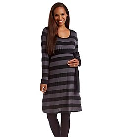 Three Seasons Maternity™ Long Sleeve Stripe Belted Dress