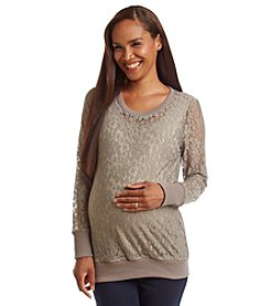 Three Seasons Maternity™ Long Sleeve Allover Lace Top