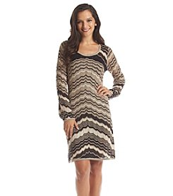 XOXO® Long Sleeve Zig Zag Sweater Dress