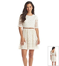 City Triangles® Crochet Belted Dress