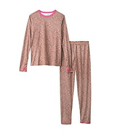 Cuddl Duds® Girls' 4-16 Cheetah Printed Polyester Thermal Set