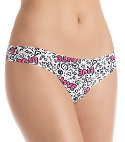 B intimates Black and Pink Scribble Love No Show Thong