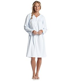 Miss Elaine® Short Fleece Gown - Periwinkle