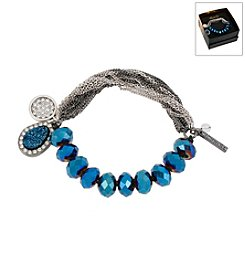 Kenneth Cole® Boxed Blue Faceted Cherry Bead &Amp; Charm Stretch Bracelet