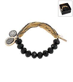 Kenneth Cole® Boxed Black Faceted Cherry Bead &Amp; Charm Stretch Bracelet