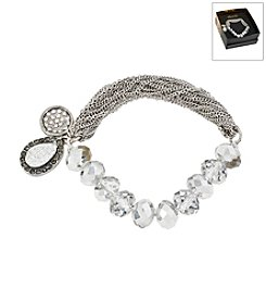 Kenneth Cole® Boxed Cherry Bead &Amp; Silvertone Charm Stretch Bracelet