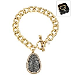Kenneth Cole® Boxed Hematite Druzy Charm Goldtone Toggle Bracelet