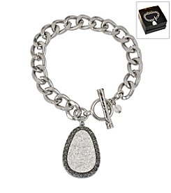 Kenneth Cole® Boxed Silvertone Druzy Charm Toggle Bracelet