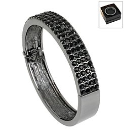 Kenneth Cole® Boxed Hematite Black Pave Hinged Bangle Bracelet