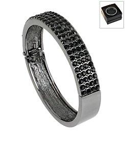 Kenneth Cole® Boxed Hematite Black Pave Hinged Bangle Bracelet