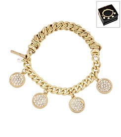 Kenneth Cole® Boxed Goldtone Pave Shaky Circle Stretch Bracelet