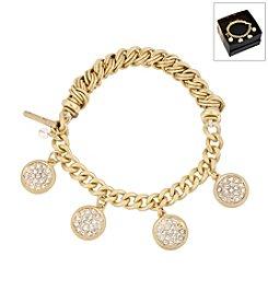Kenneth Cole® Boxed Goldtone Pave Shaky Circle Stretch Bracelet