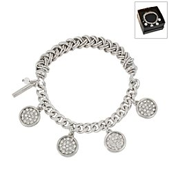 Kenneth Cole® Boxed Silvertone Pave Shaky Circle Stretch Bracelet