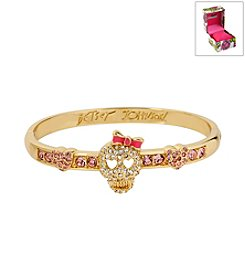 Betsey Johnson® Boxed Pave Skull Goldtone Hinged Bangle Bracelet