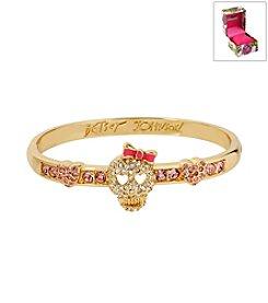 Betsey Johnson® Boxed Pave Skull Goldtone Hinged Bangle Bracelet