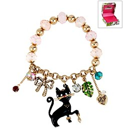 Betsey Johnson® Boxed Black Cat Multicolor Charm Stretch Bracelet